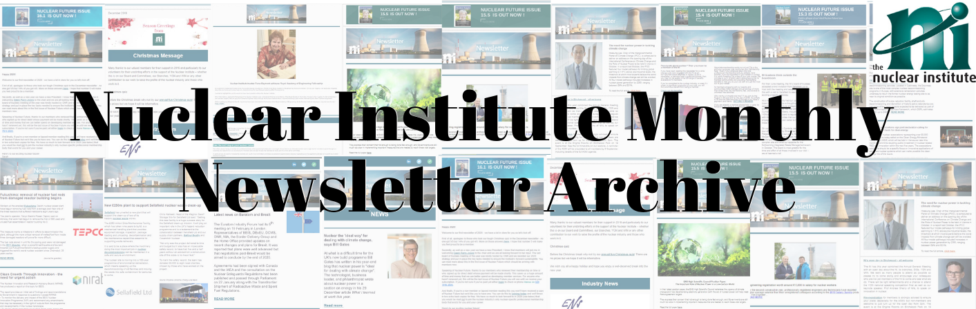 Nuclear Institute Monthly Newsletter Archive banner